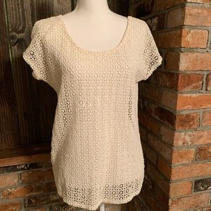 Womens Blouse Top Ivory Off White Crocheted Small